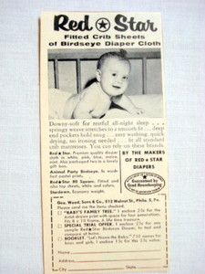 1957 Ad Red Star Fitted Crib Sheets, Geo. Wood Sons