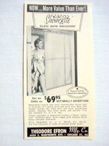 1957 Ad ShoweRite Glass Bath Enclosure, Theodore Efron