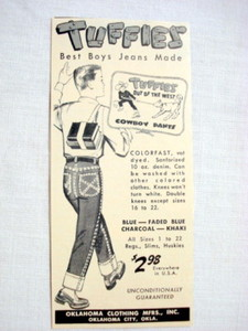 1957 Ad Tuffies Boys Jeans Oklahoma Clothing Mftrs.