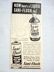 1957 Ad Liquid or Powder Sani-Flush Toilet Bowl Cleaner