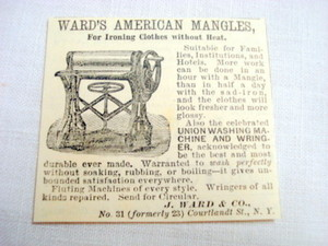 1870 Ad Ward's American Mangles For Ironing Clothes