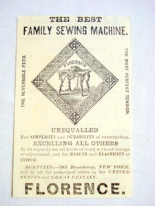 1870 Ad Florence The Best Family Sewing Machine