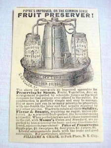 1870 Ad Payne's Fruit Preserver, Williams & Chase, NYC