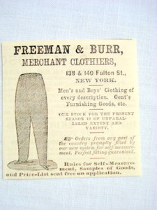 1870 Ad Freeman & Burr, Merchant Clothiers, New York