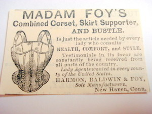 1870 Ad Madam Foy's Corset, New Haven, Conn.