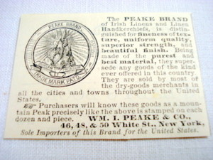 1870 Ad Peake Brand of Irish Linens and Handkerchiefs
