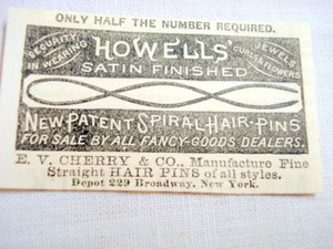 1870 Ad Howells' Satin Finished Spiral Hair Pins
