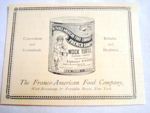 1893 Ad Franco American Food Company Mock Turtle Soup