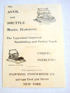 1893 Ad Hammond Typewriter Company, New York