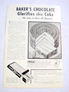 1962 Ad Baker's Chocolate Glorifies This Cake