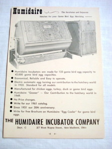 1962 Ad The Humidaire Incubator Co., New Madison, Ohio