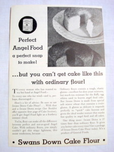 1962 Ad Swans Down Cake Flour Perfect Angel Food