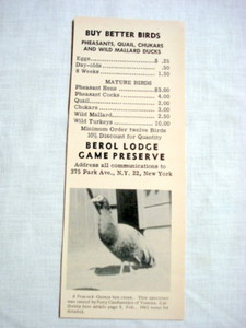 1962 Ad Berol Lodge Game Preserve 'Buy Better Birds