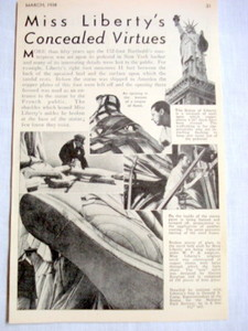 1938 Statue of Liberty Mag. Article Concealed Virtues