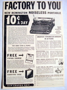 1938 Ad Remington Rand Portable Typewriter, Buffalo NY