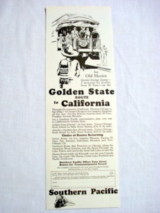 1927 Southern Pacific Railroad Ad Golden State Route