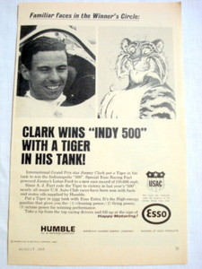 1965 Humble Oil Esso Ad Jimmy Clark Grand Prix Driver