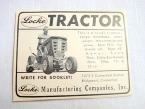 1965 Ad Locke Tractor, Locke Mftg., Bridgeport, Ct.