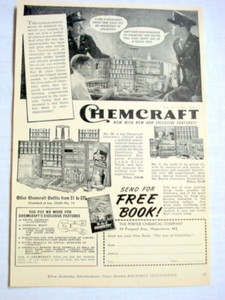 1943 Ad Chemcraft Chemistry Sets, Porter Chemical Co.