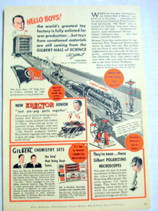 1943 A. C. Gilbert Co. Ad American Flyer, Erector Sets