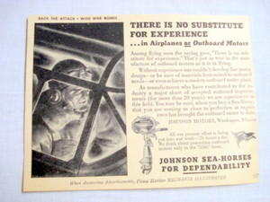 1943 Johnson Outboard Motors Ad Waukegan, Illinois