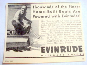 1943 Ad Evinrude Outboard Motors Milwaukee, Wisconsin