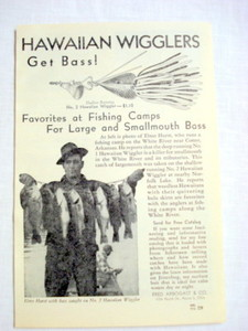 1946 Hawaiian Wigglers Ad Fred Arbogast & Co Akron Ohio