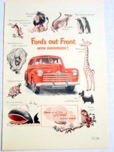 1946 Ford Automobile Ad Ford's Out Front With Everybody
