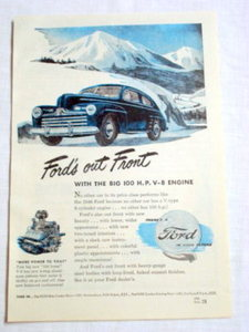 1946 Ford Automobile Ad Ford's Out Front