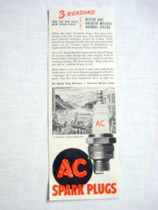1946 Ad AC Spark Plugs 3 Reasons To Buy Spark Plugs