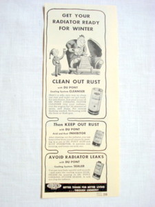 1946 Du Pont Ad Get Your Raidiator Ready For Winter