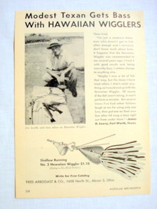 1946 Hawaiian Wigglers Ad Modest Texan Gets Bass