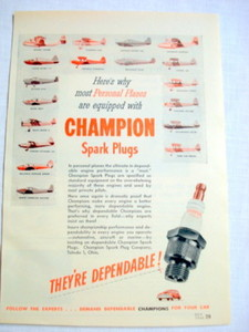 1946 Ad Champion Spark Plugs For Personal Planes