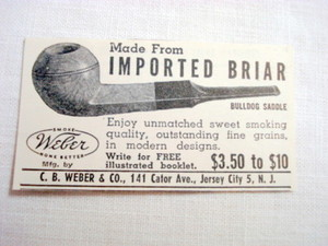 1946 Ad Weber Pipes C. B. Weber & Co Jersey City, N. J.