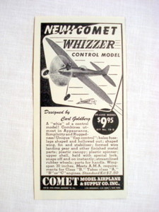 1946 Comet Whizzer Ad Comet Model Airplane & Supply Co
