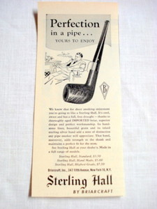 1946 Pipe Ad Sterling Hall by Briarcraft
