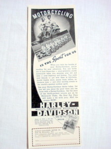 1939 Ad Harley-Davidson Motorcycles Milwaukee, Wisc.
