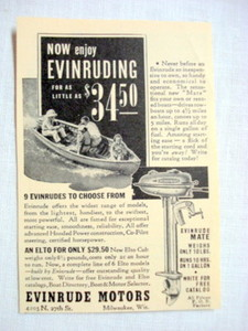 1939 Evinruding Ad Evinrude Motors, Milwaukee, Wisc.