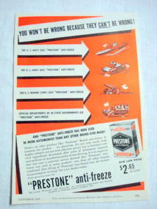 1939 Prestone Anti-Freeze Ad You Won't Be Wrong