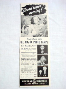 1940 GE Ad General Electric Mazda Photo Lamps