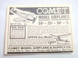 1940 Ad Comet Model Airplane & Supply Co., New York