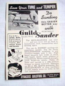 1940 Ad Guild Portable Electric Sander, Syracuse N. Y.
