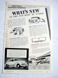 1940 Automobile Ad What's New in 1940 Body By Fisher