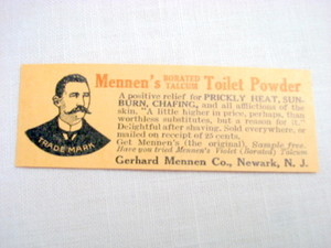 1907 Mennen's Borated Talcum Toilet Powder Newark N. J.