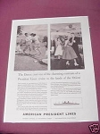 1958 American President Lines Ad The Dance