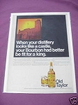 1967 Ad Old Taylor Kentucky Straight Bourbon Whiskey