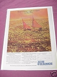 1967 Air France Ad Featuring Sun Fish Sailboats