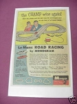 1966 Monogram Model Car Racing Ad Le Mans Road Racing