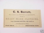 1889 Greenfield, Mass. Ad C. S. Barrett Clothing