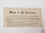 1889 Greenfield, Mass. Eichler Ladies' Hair Goods Ad